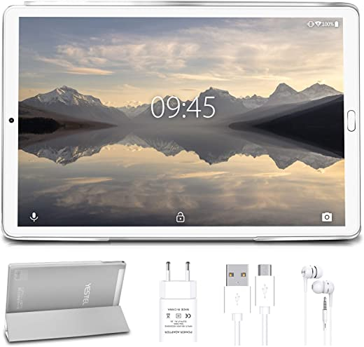 Tablet 10 pollici YESTEL Tablet Android 10.0 con 4 GB di RAM + 64 GB di ROM - WiFi | Bluetooth | GPS, 8000mAH con Cover-(Nessuna tastiera o mouse)Argento