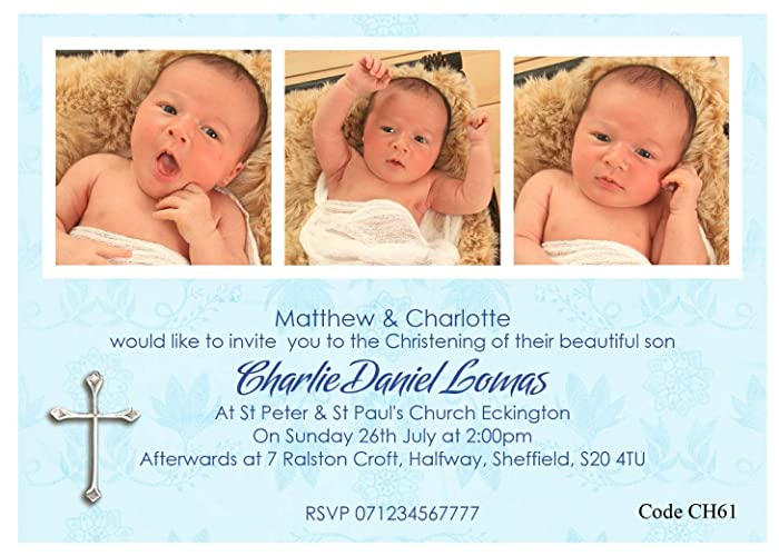 Personalised Boys Christening Or Baptism Invitations Cards