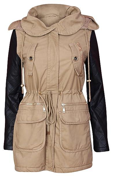 De la Mujer con capucha Parka chaqueta acolchada de piel sintética mangas abrigo: Amazon.es: Ropa y accesorios