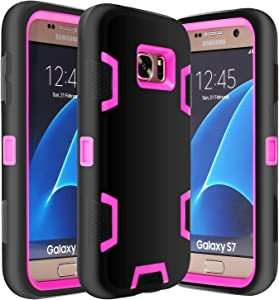 E LV Galaxy S7 Case Hybrid Defender Rugged Shockproof Dirtproof Case Cover for Samsung Galaxy S7 - [Black/HOT Pink]