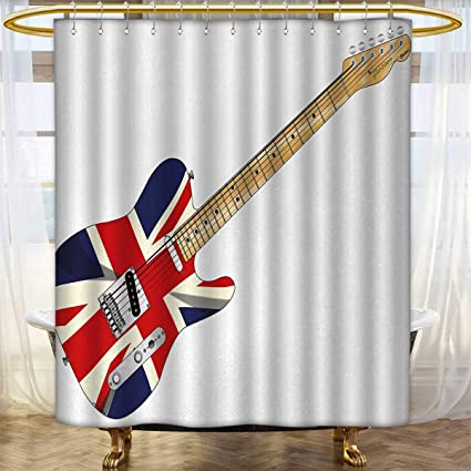 Anhounine Union Jack Shower Curtains Sets Bathroom Classical Electric Guitar UK Flag Great Britain Music Instrument