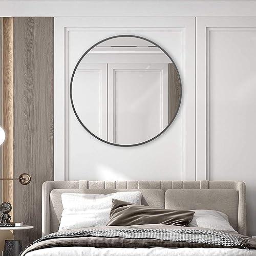 ElevensMirror Large Round Wall Mirror 30 Inch Wall Mount Circle Mirror Decorative Metal Framed Vanity Mirror for Bathroom Entryway Washroom Living Room 30 Round, Grey
