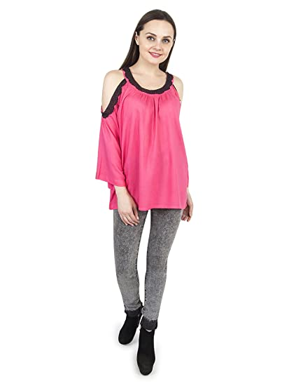 0fadc377f01e93 Patrorna Blended Girl s Lace Work Cold Shoulder Sleeve Crop Tops (LG6G035)   Amazon.in  Clothing   Accessories