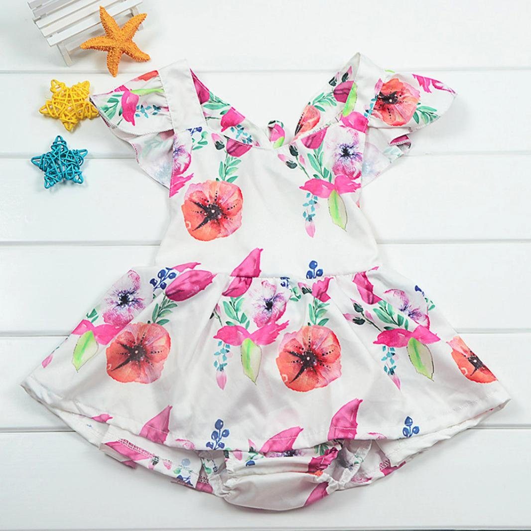 WensLTD Clearance Newborn Infant Baby Girls Floral Ruffles Romper Playsuit Clothes Outfits Clothes