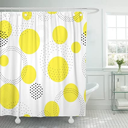 Image Unavailable Not Available For Color TOMPOP Shower Curtain Geometric Universal Abstract Circles Figure In Black White Yellow