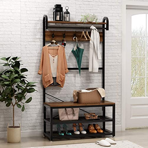 Tribesigns Vintage 4 in 1 Hall Tree with Storage Bench, 3-Tier Industrial Entryway Bench with Coat Rack and Hanging Bar, Coat Rack Stand with Shoe Rack, Storage Shelf and 5 Hooks Rustic