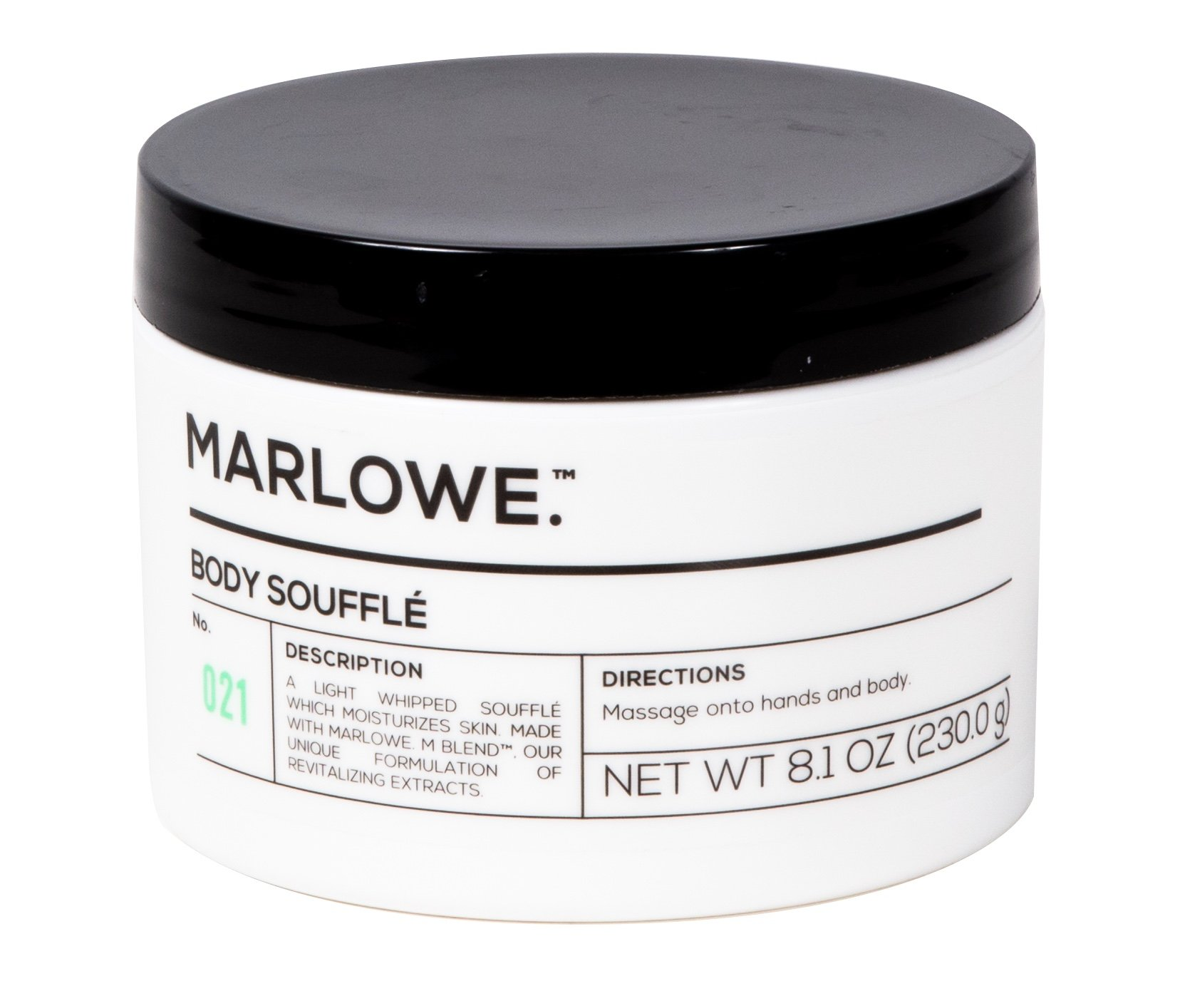 MARLOWE. No. 021 Body Soufflé 8 oz | Soft, Creamy, Light Whipped Lotion | Hydrating Dry Skin Cream | Clean, Natural Scent