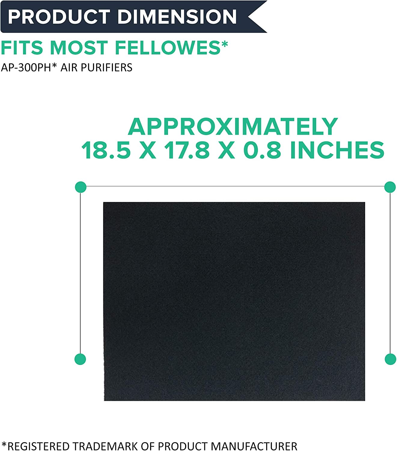 8 Pack fits Fellowes CF300 9372101 Carbon Pre Filters for AP300PH Air Purifier
