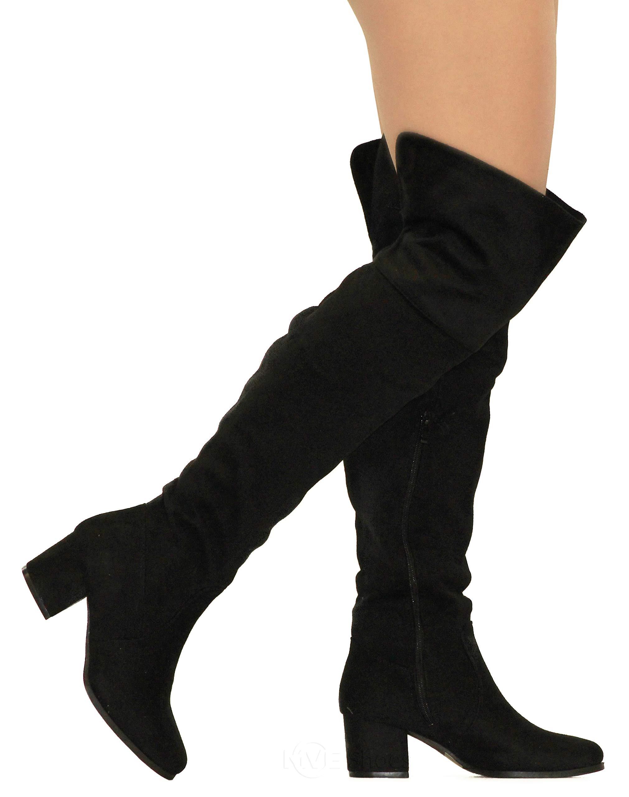 MVE Shoes Women's Over The Knee Stretch Boot - Trendy Low Block Heel Shoe - Sexy Over The Knee Pullon Boot - Comfortable Easy Heel Boot, Black Size 10