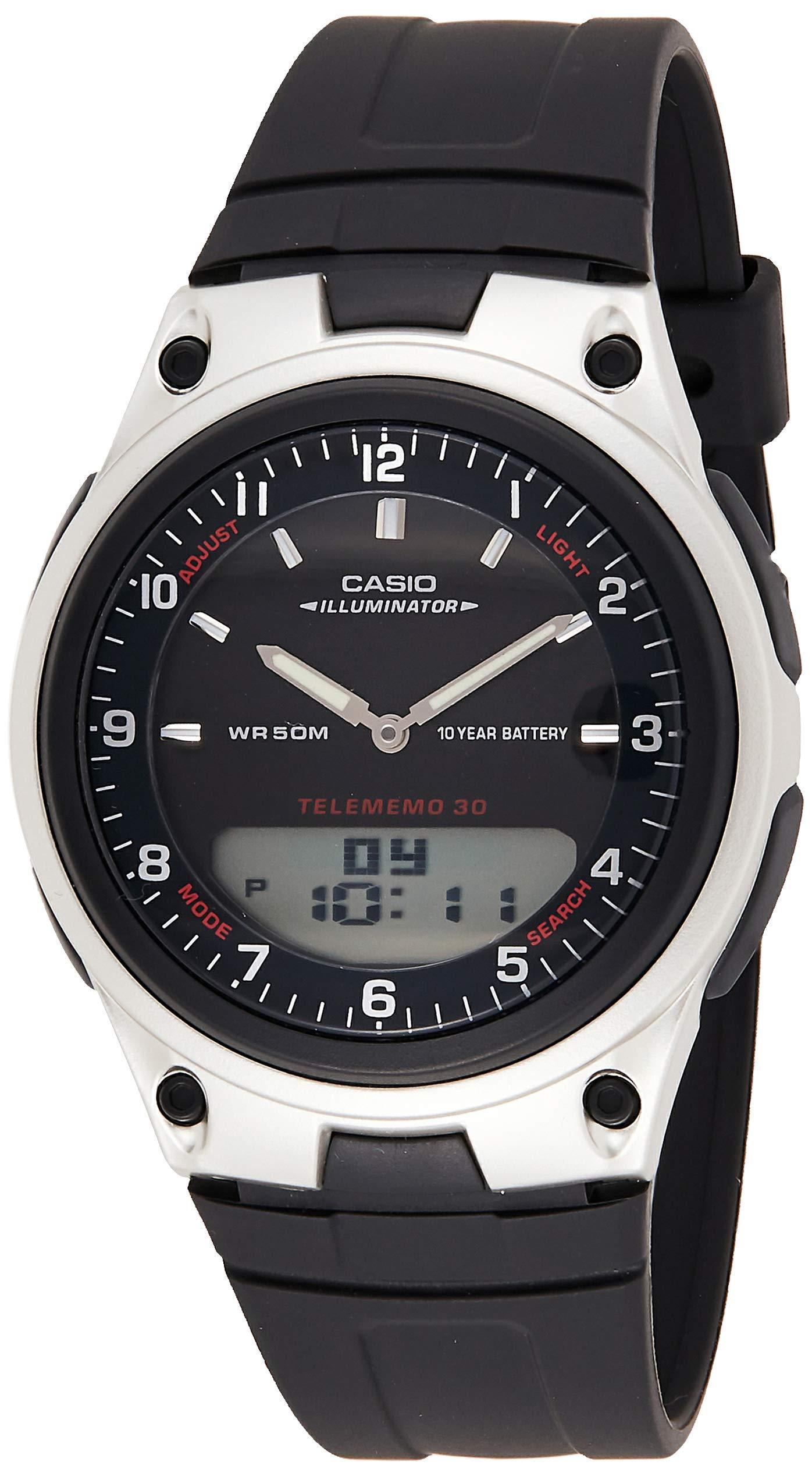 Casio Unisex-Adult Quartz Watch, Analog-Digital Display and Resin Strap AW-80-1A