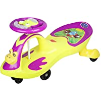 BabyGo Baby POLLI Swing Magic Car Ride On for Kids with Music and Light (Yellow and Purple)