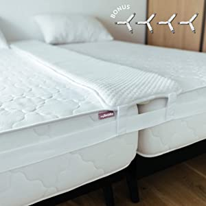 myBeddie Bed Bridge Twin to King Bed Converter Kit – Extra Wide (12in) Bamboo Twin Bed Connector Mattress Extender with Storage Bag and 4 Bed Sheet Straps Included