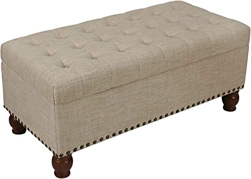 ELEGAN Home Life Lift Top Ottoman Storage Bench Rusty Brown