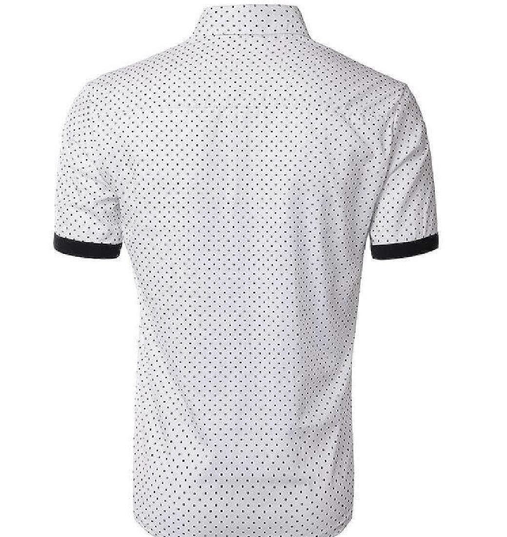 Cromoncent Mens Short Sleeve Business Button Down Lapel Dot Slim Shirts