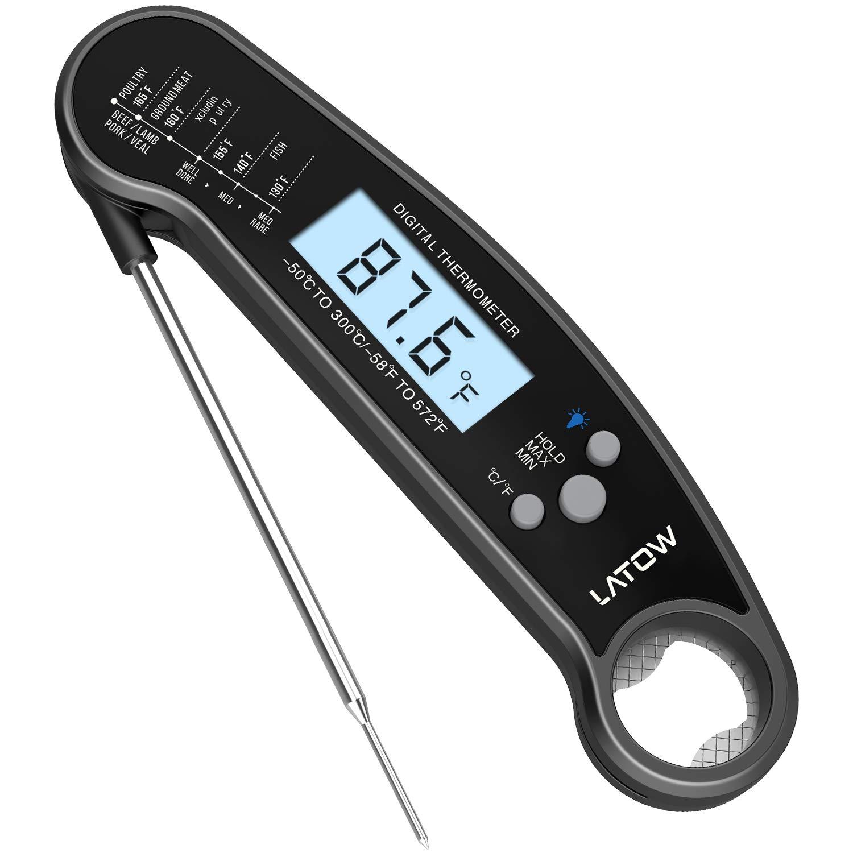 LATOW Termómetro Digital de Cocina, Termómetro de Alimentos Lectura Rápido la Temperatura, Ajustable 180