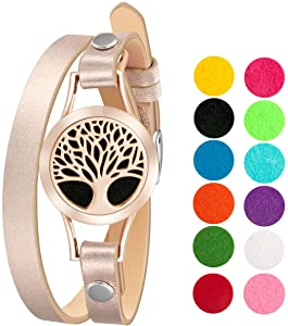 Wild Essentials Rose Gold Tree of Life Essential Oil Diffuser Bracelet, Stainless Steel Aromatherapy Locket, Leather Band with 12 Color Pads, Womens Jewelry Gift Set