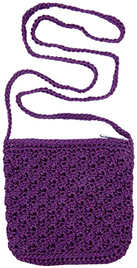 Girls Crochet Bag With Strap Purple
