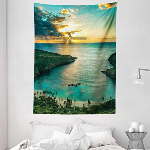 Ambesonne Hawaiian Tapestry, Sunrise Over Hanauma Bay Oahu Hawaii Sunbeams Through Clouds Shoreline, Wall Hanging for Bedroom Living Room Dorm, 60 X 80 , Green Orange