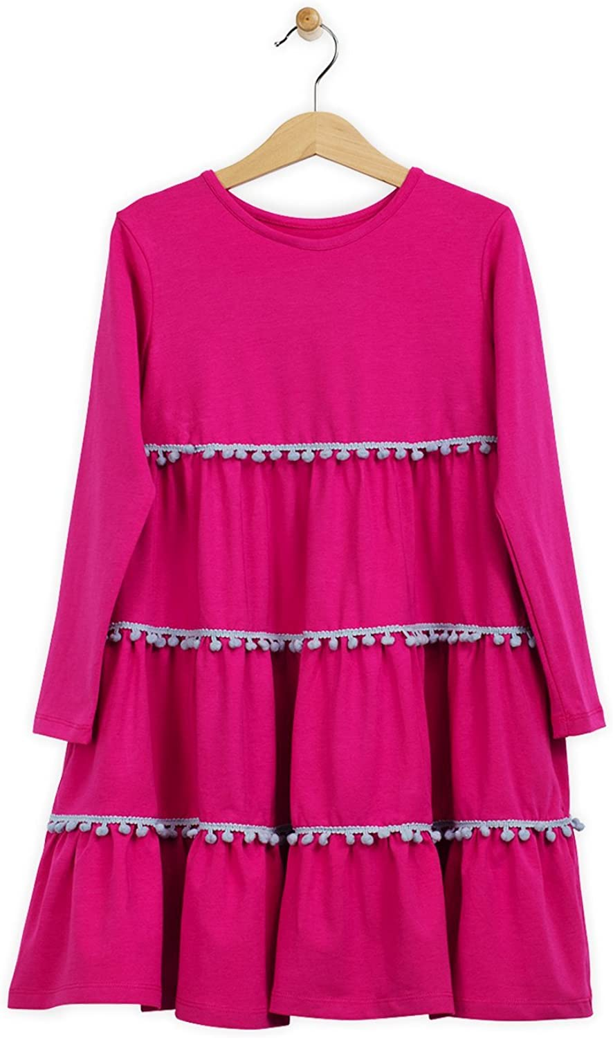 Lucky & Me | Emilia Girls Long Sleeve Dress | Children's Twirl Pop-Pom Trim Tiered Skirt