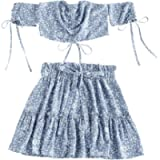 DEZZAL ZAFUL Women's Two Piece Off Shoulder Floral Smocked Crop Top and Shorts Set