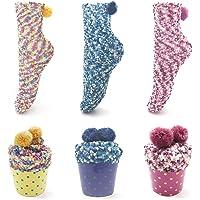 Leapop 1 oder 3 Paare Damen Mädchen Socken Cupcakes Design Flauschig Gemütliche Weiche Dicke Warme Weihnachtssocken mit Geschenkbox