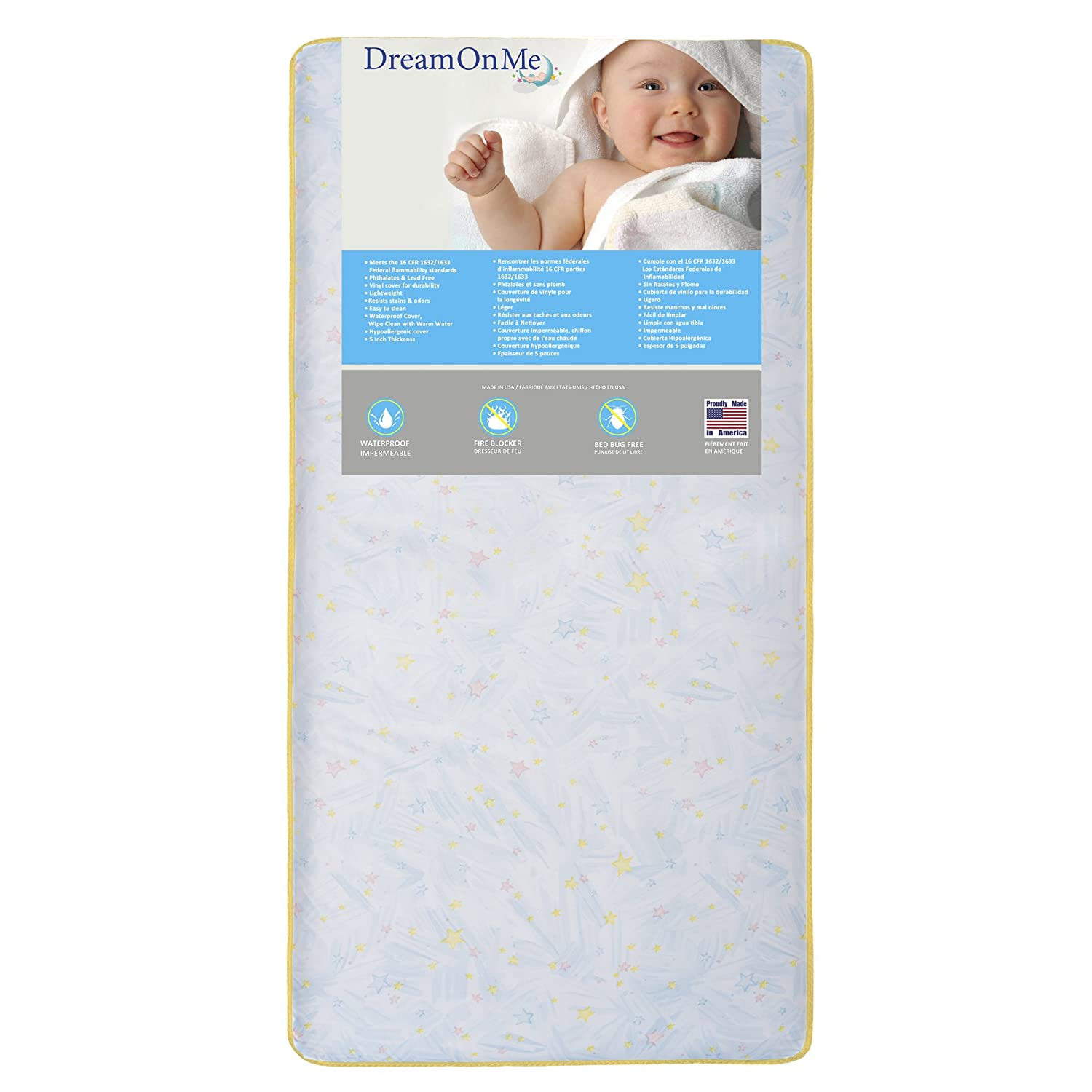 Dream On Me Crib and Toddler, 202 Coil Mattress, Star Light 154-202