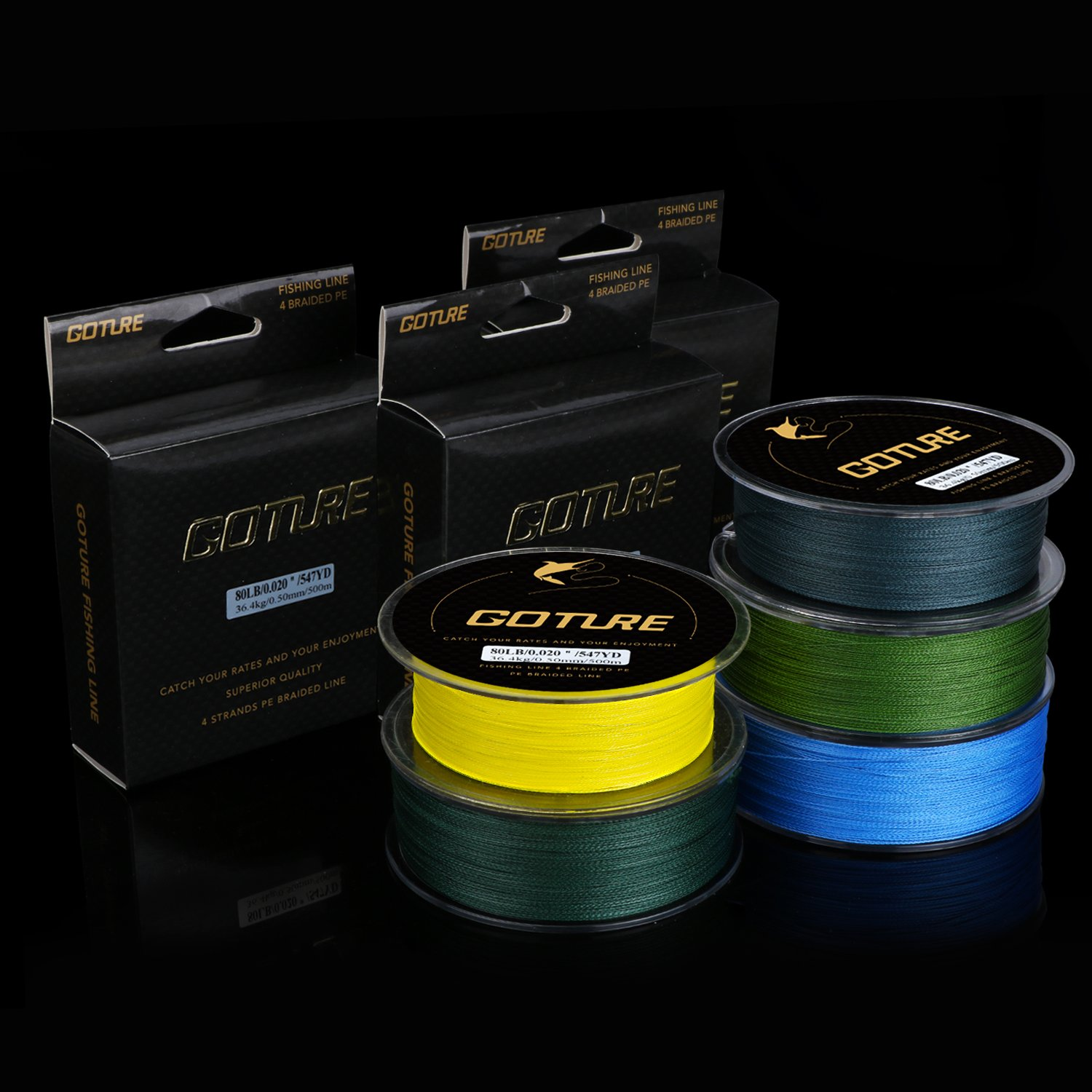Goture 8-80LB Superpower Braided Fishing Line-Zero Stretch and High Tension Advanced Multifilamentline for Saltwater and Freshwater - Army Green, Blue, Blackish Green, Grey, Yellow- 2017 New by Goture (Image #5)