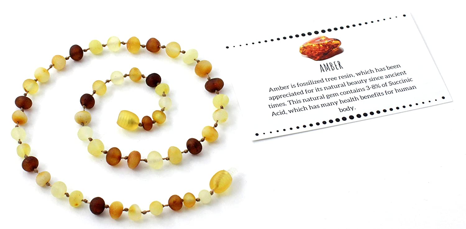 BoutiqueAmber 28 cm - Multicolored Unpolished Baltic Amber Teething Necklace for Baby or Toddler Mix, 11 inches Size 11 inches