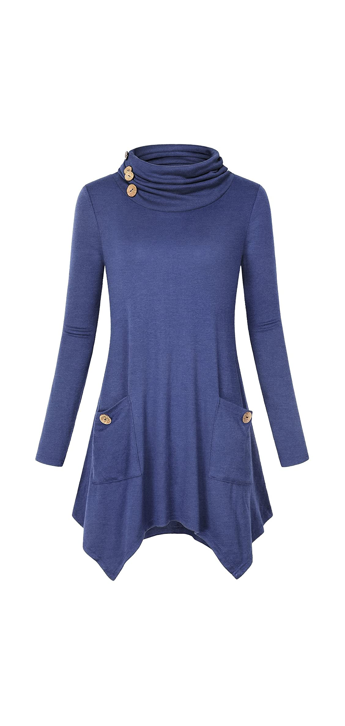 Women's Cowl Neck Asymmetric Hem Tunic Tops With Pockets