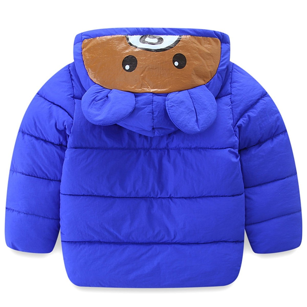 Wintie Boys Girls Bear Printed Cotton Puffer Down Hooded Jacket with Ears