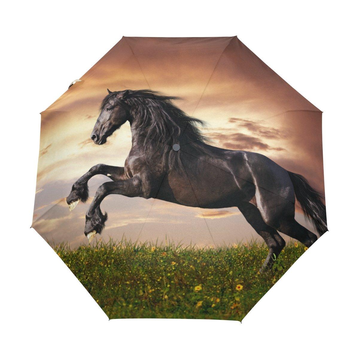 deyyaブラックFriesian Horse Gallop防風旅行傘自動的に開く閉じる軽量コンパクトゴルフ傘 B075GQTQGS