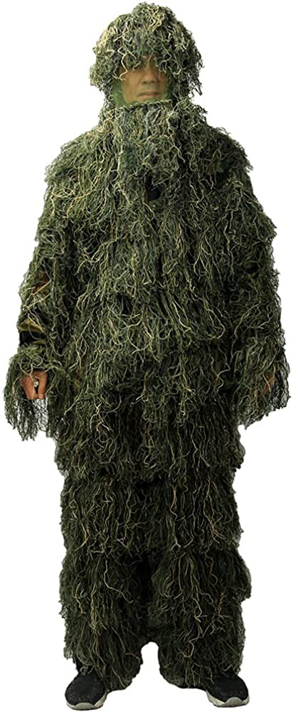LOOGU Ghillie Suit, Camo Suit Woodland and Forest Design Military Leaf Hunting and Shooting Accessories Tactical Camouflage Clothing Free Size for Airsoft, Wildlife Photography Halloween : Sports & Outdoors