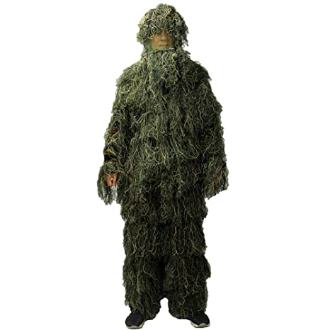 87386b2f01d91 Ghillie Suit, LOOGU Camo Suit Woodland and Forest Design Military Leaf  Hunting and Shooting Accessories