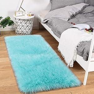 Noahas Luxury Fluffy Rugs Bedroom Furry Carpet Bedside Faux Fur Sheepskin Area Rugs Children Play Princess Room Decor Rug, 2.3ft x 5ft, Light Blue