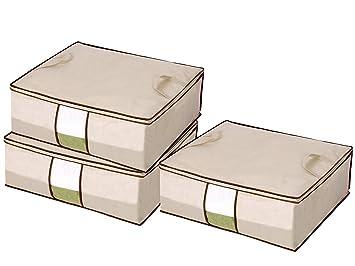 StorageManiac Set de 3 cajas plegables de almacenaje, cajas de almacenamiento con tapa, de tamaño grande, de 69 x 59 x 25 cm: Amazon.es: Hogar
