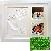 Baby Handprint & Footprint Keepsake Photo Frame Kit - Personzalize it w/ Free Stencil! Non-Toxic Clay, Wall/Table Wood…