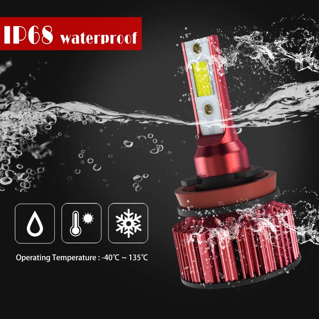 Hi//Lo Beam COB Chip 12000 LM//Pair 6K Extremely Bright 68w Cool White For Bright /& Greater H11//H8//H9 LED Headlight Bulb Conversion Kit,DOT Approved