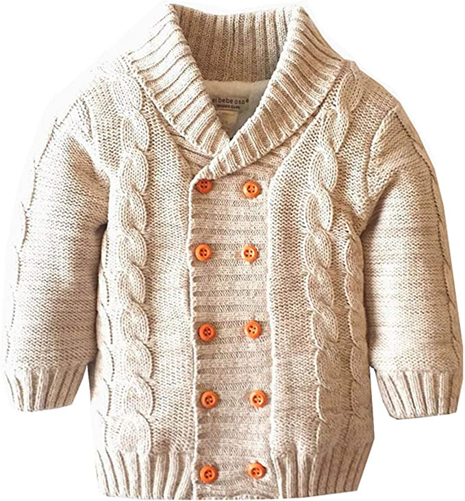 Dealone Baby Boys Hooded Cardigan Jacket Long Sleeve Striped Knitted Sweater Toddler Winter Warm Outerwear
