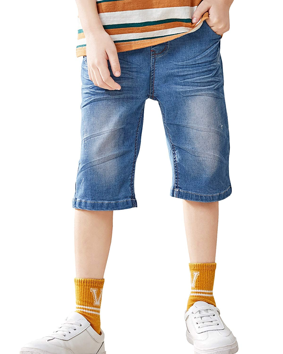 BYCR Boys Denim Jeans Short Elastic Waistband Loose Fit Pull on Shorts Trousers