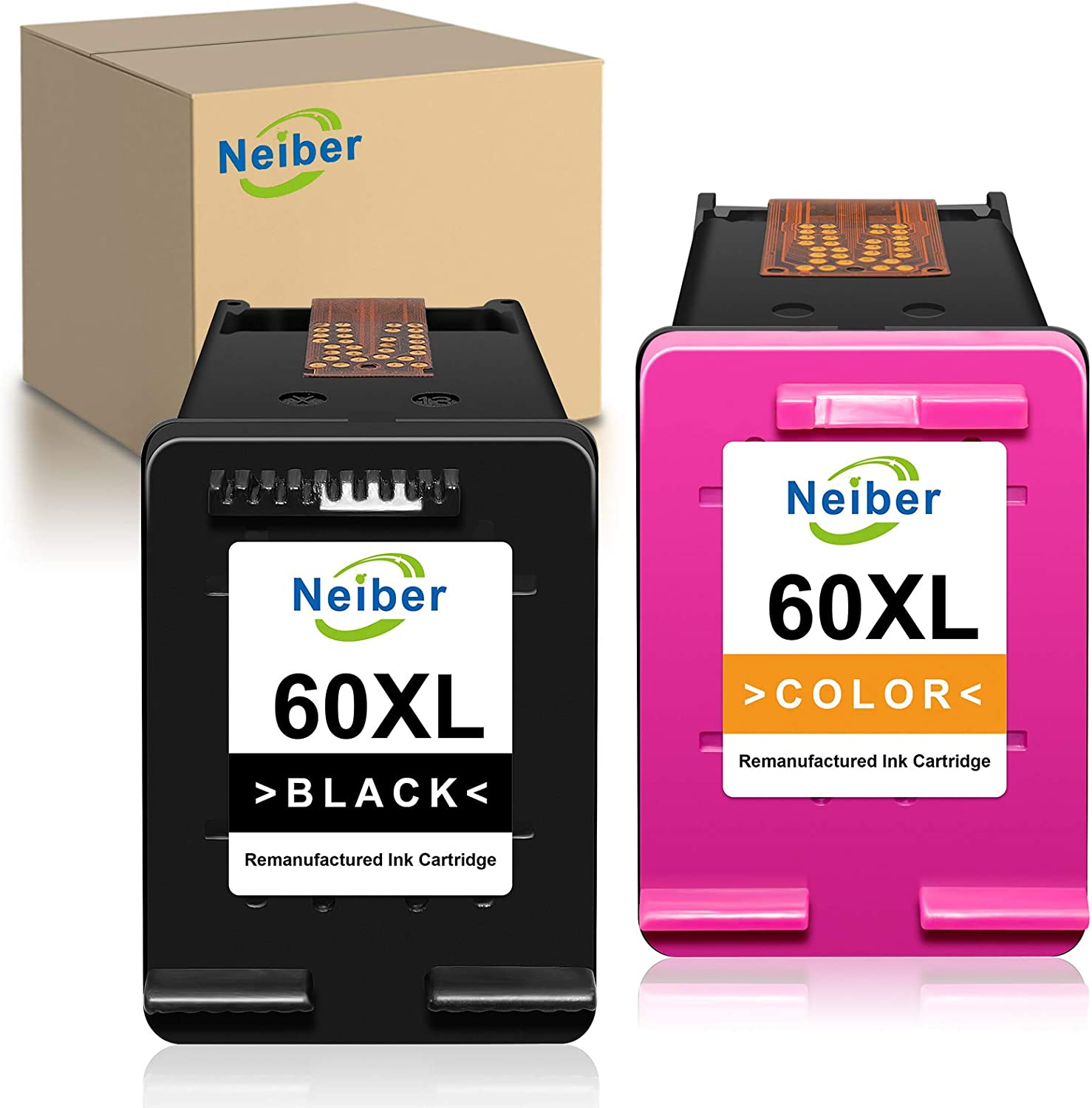 Neiber Remanufactured Ink Cartridge Replacement for HP 60 XL 60XL (1 Black, 1 Tri-Color) Work with PhotoSmart C4700 C4795 C4600 D110a C4680 Envy 120 100 114 110 DeskJet F4235 F4580 F4400 F2430 Printer