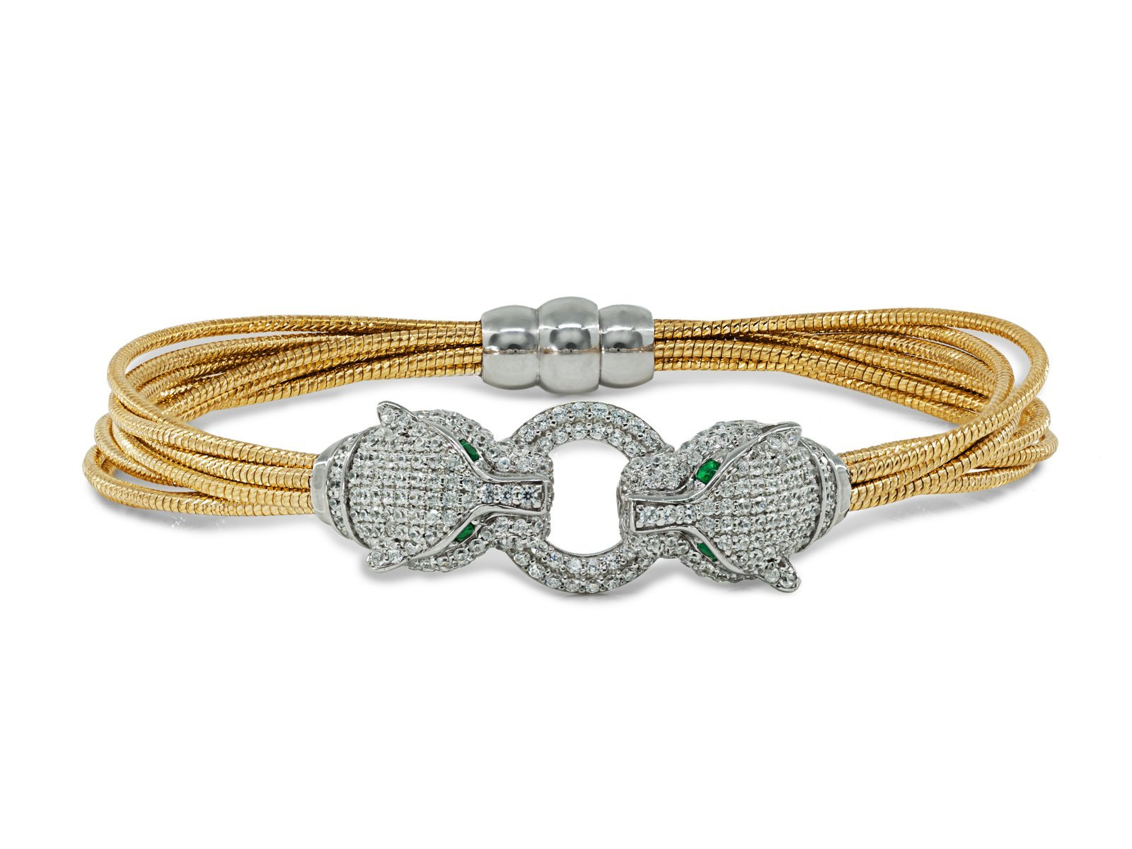 Fronay Co Two Tone .925 Sterling Silver Dual Cz Panthers Bracelet