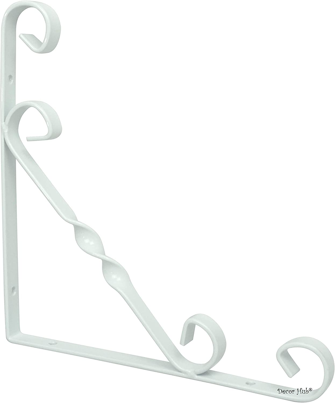 DIY Décor Hub: 8pc White Stainless Steel Wall Mounted Shelf Brackets/Flower Pot Hanger. 200 x 200 mm