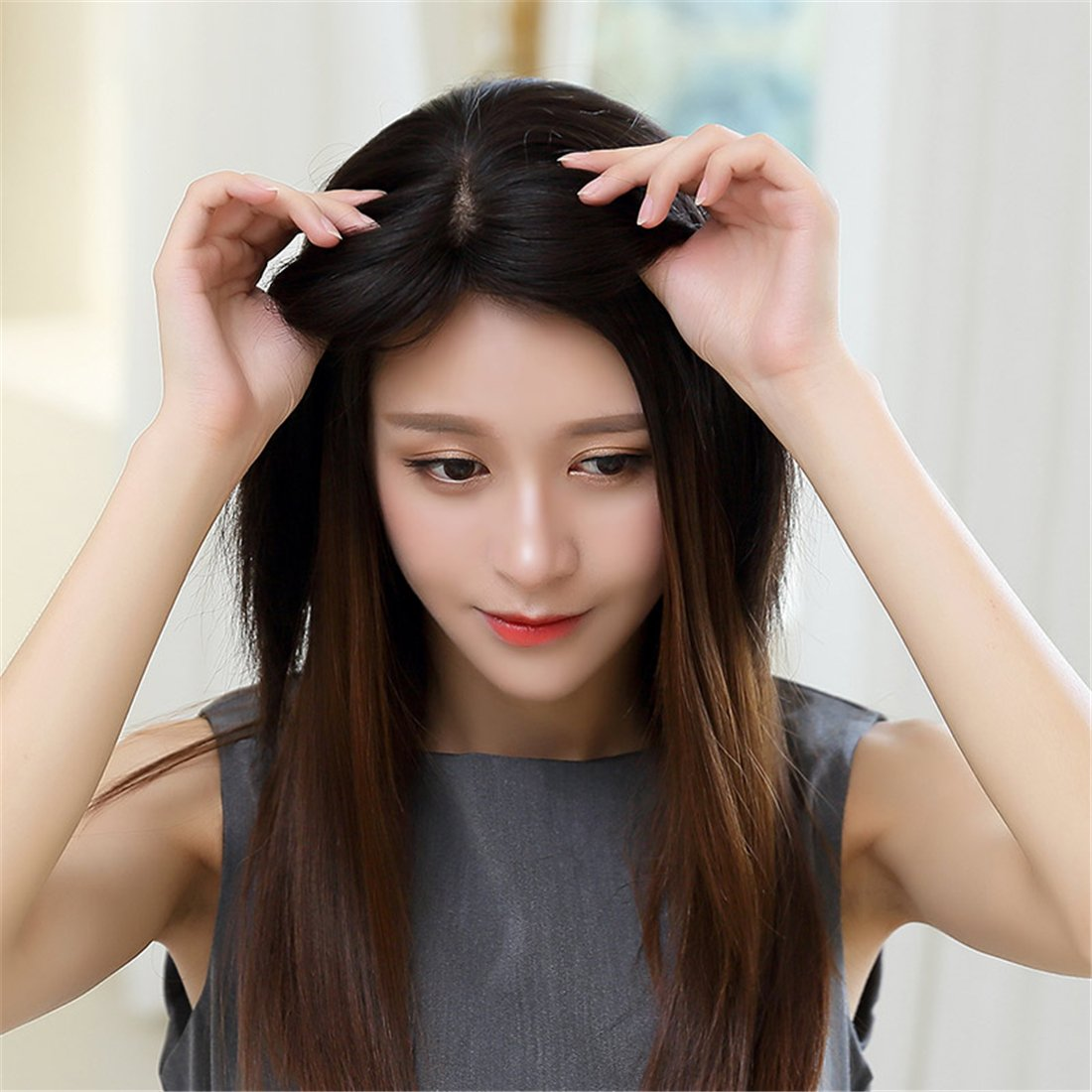 Amazon 55x55inch Silk Base Clip On Human Hair Wiglet Middle