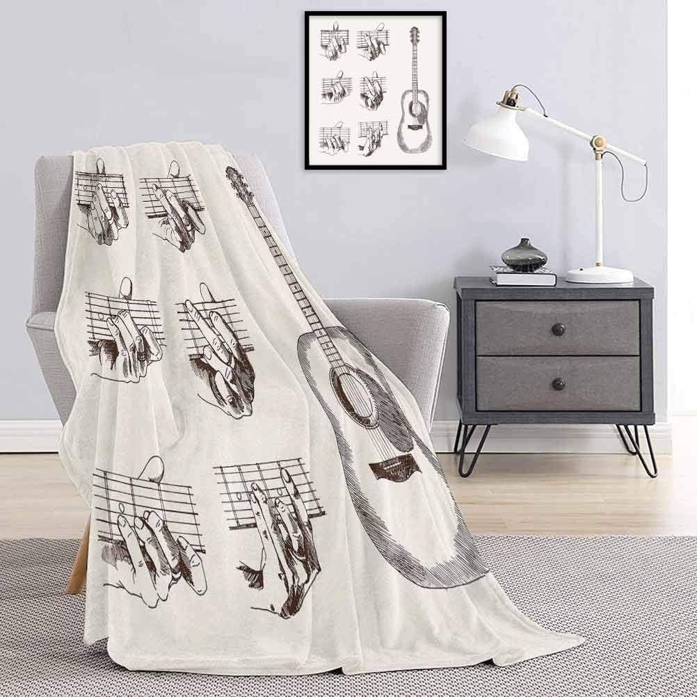 Toopeek - Manta grande para guitarra, diseño de instrumentos y acordes acústicos de flamenco, técnica de talento, manta de microfibra para cama o viajes, 54 x 172 pulgadas, color crema