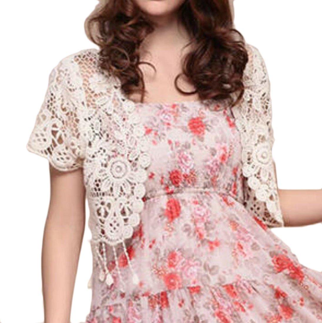 Frieed Women's Solid Plus Size Short Sleeve Knit Bolero Shrug Cardigan
