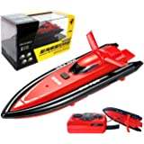 POCO DIVO 2.4Ghz Mini RC Racing Boat Pool Tracer Bathtub Yacht Toy Motor Ship - Red