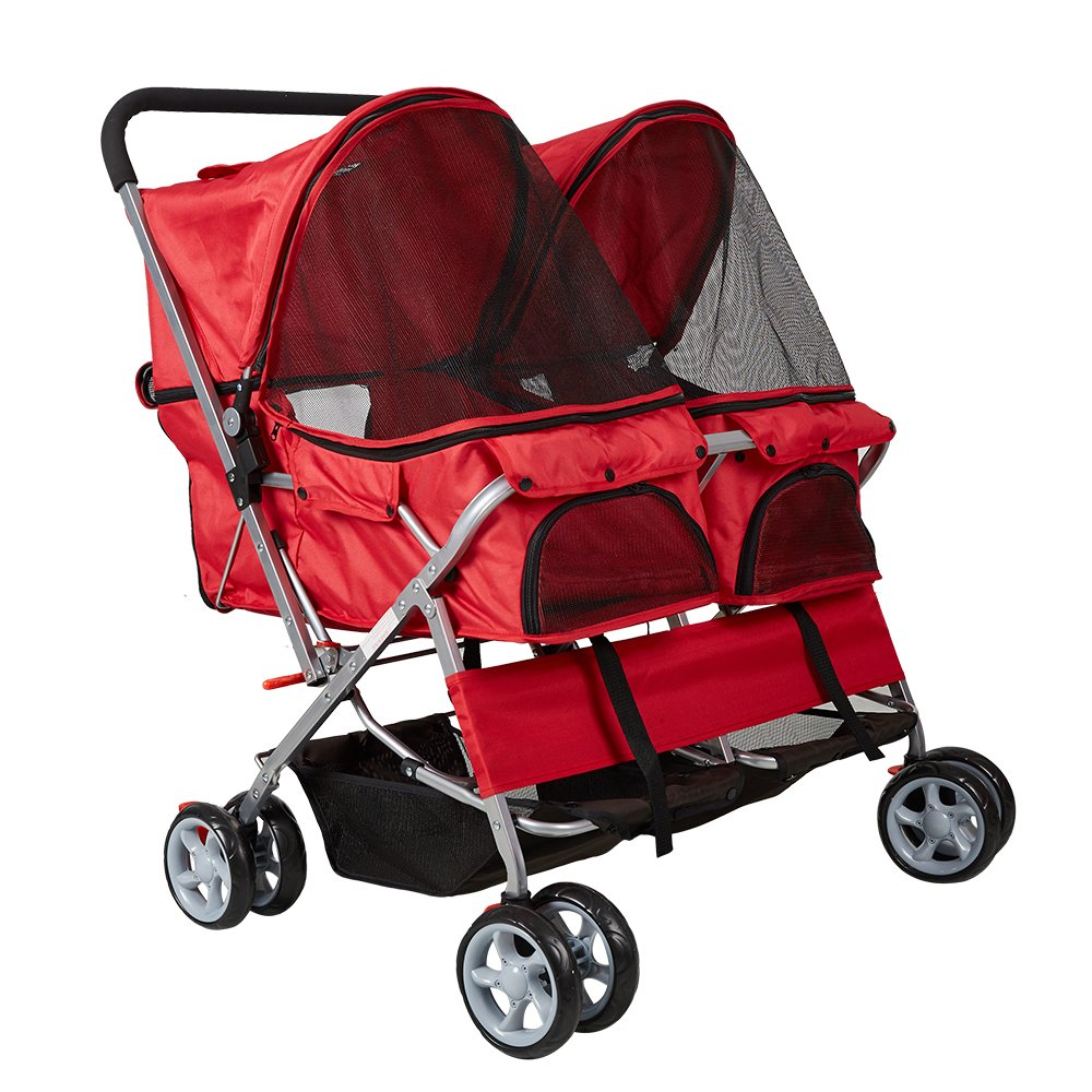 Livebest Folding 4-Wheels Pet Stroller Small Animals Carrier Easy Walk Travel Jogger with 360 Rotating Front Wheel for Two Cats or Dogs by Livebest (Image #2)