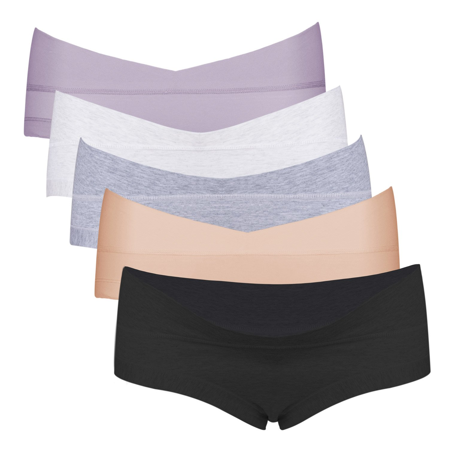 Intimate Portal Under The Bump Cotton Maternity Pregnancy Panties Pack 5-Pk Black Soft Gray Beige Heather Gray Purple L