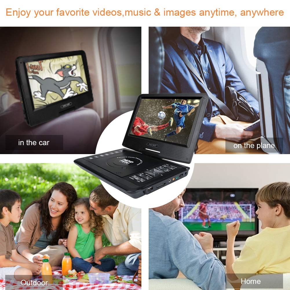 Smyidel 11.0'' Portable DVD Player Supports SD Card/USB Port /CD/DVD, Remote Controller,5 Hour Rechargeable Battery, 9'' Eye-Protective Screen, Support AV-in/ Out,Region Free ,Black by Smyidel (Image #6)