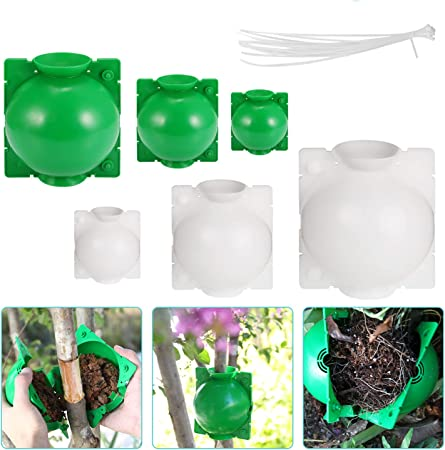 Eyoloty 6PC Root Growing Box with 30Pcs Zip Ties Reusable Plant Rooting Device, High-Pressure Box Grafting Botany Root Controller for Roses, Trees, Fruit Bushes, Magnolia (2L+2M+2S)
